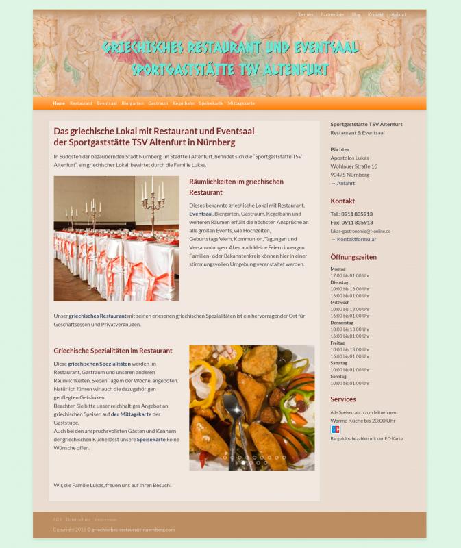 Geschäfts-Webseite eines Restaurants nach der Umwandlung in eine WordPress Seite